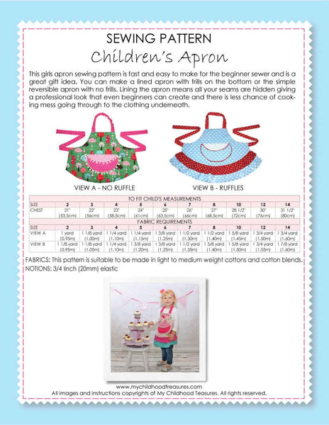 kids sewing pattern, childrens apron pattern