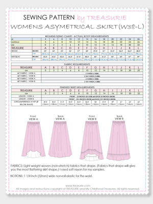 SKIRT Patterns - Womens - Asymetrical (W38-L)