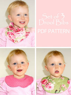 Baby Drool Bibs set of 3  - digital downloadable sewing pattern