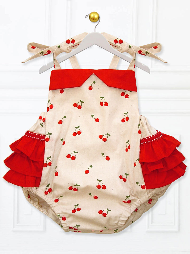 Isabella baby girls ruffle romper digital downloadable PDF sewing pattern, baby clothing pattern