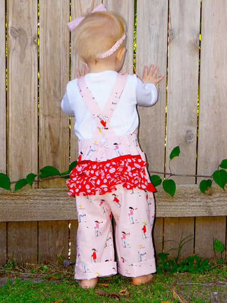 Chelsea ruffle romper baby girls digital downloadable PDF sewing pattern, baby clothing pattern