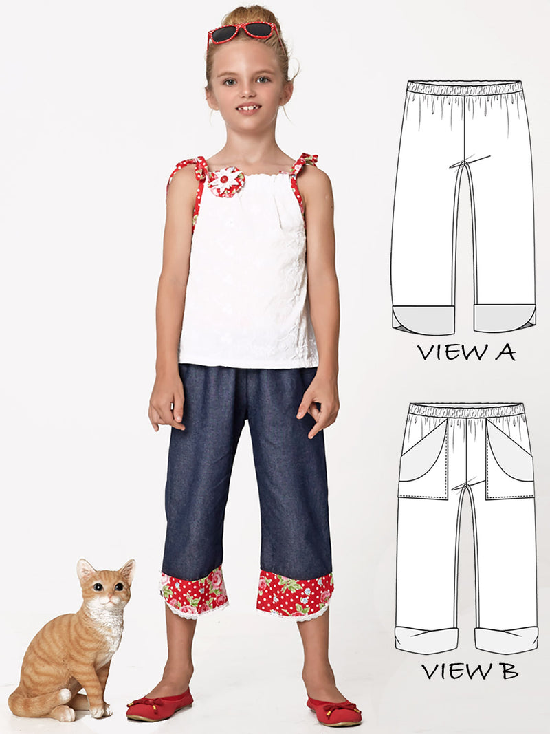 capri pants pattern, girls pants pattern