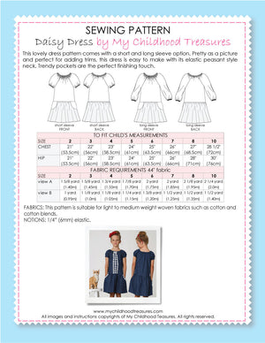 Daisy girls dress sewing pattern by MCT