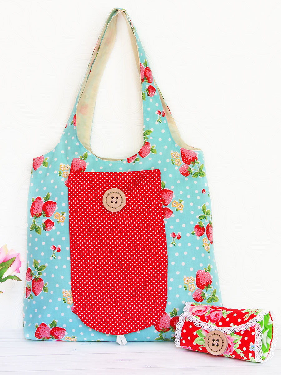 (B908) Georgie Tote Sewing Pattern - FOLDABLE grocery bag