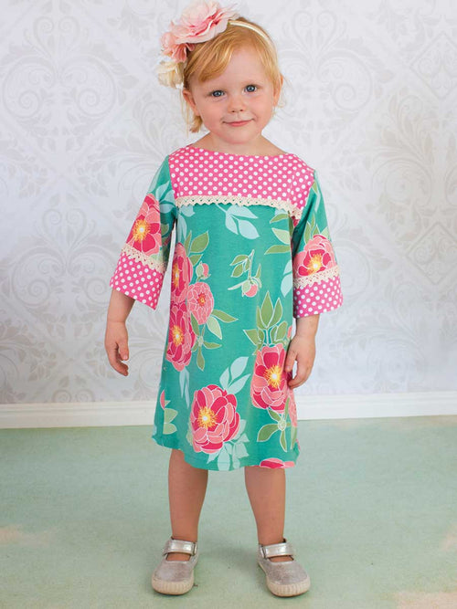 girls stretch pattern, childrens sewing pattern, stretch dress pattern