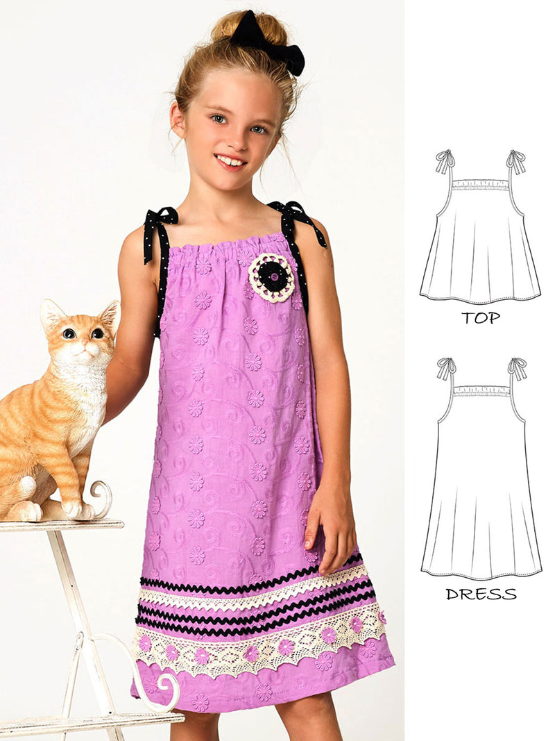 girls dress pattern, top pattern
