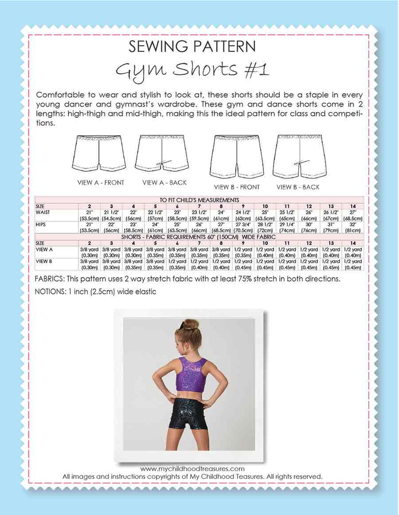 Shorts Pattern - Girls Gym & Dance - GYM SHORTS #1 (S501)