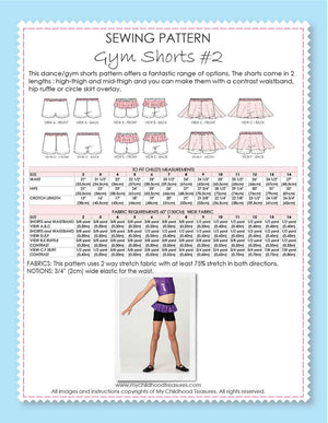 Shorts Pattern - Girls Gym & Dance - GYM SHORTS #2 (S502)