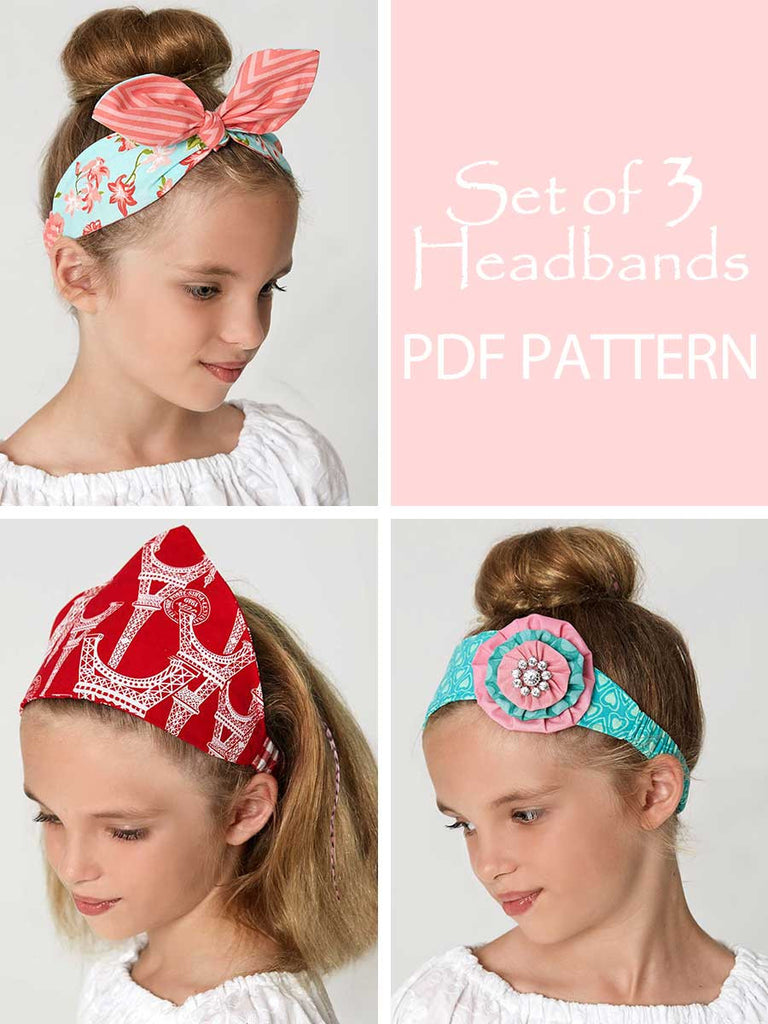Retro headband sewing pattern treasurie my childhood treasures retro headbands sewing pattern set of 3 girls adult jeuxipadfo Choice Image