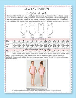 Leotard Patterns, Swimsuit Patterns - LEOTARD #1 - Girls, Sleeveless (L501)