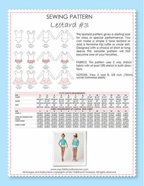 Leotard Patterns - LEOTARD #3 - Girls, Short/Long Sleeve (L503)