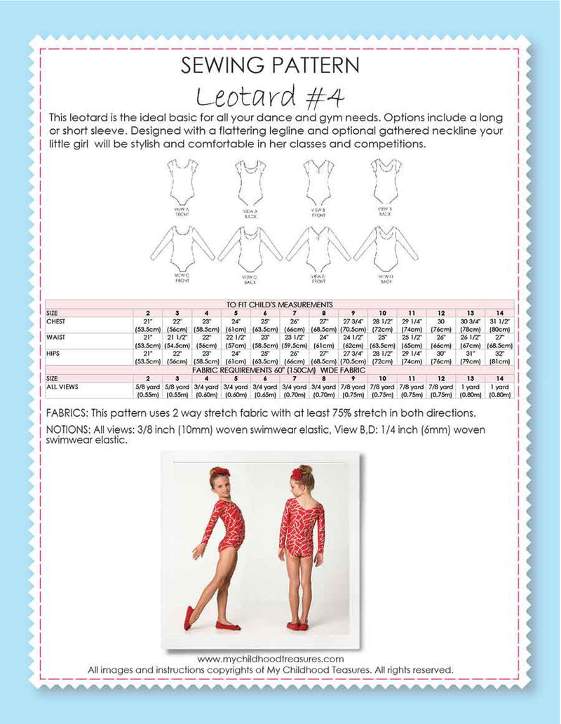 Bestseller - Leotard Patterns - LEOTARD #4 - Girls (L504)