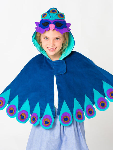Peacock costume cape girls digital downloadable PDF sewing pattern,sew children's clothing pattern, reversible cape