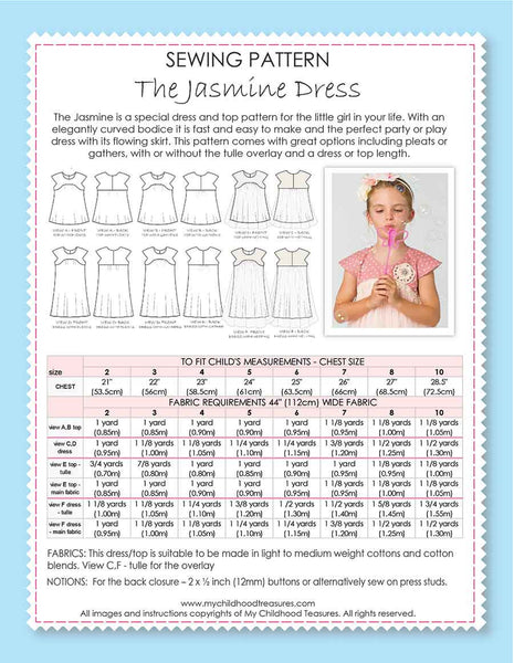 JASMINE - Girls Dress Patterns, Top Sewing Pattern - 2 Skirt Options