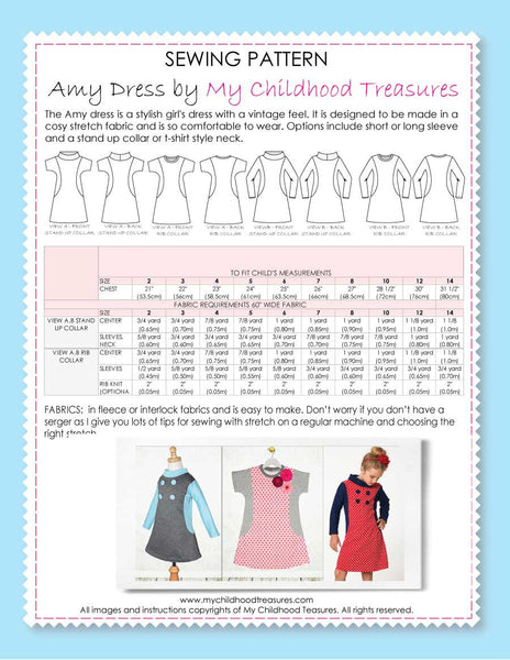 AMY - Girls Dress Patterns - Short & Long Sleeve, Stretch