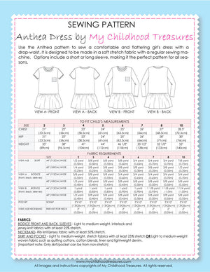 ANTHEA - Girls Dress Patterns - Stretch, Short/Long Sleeve