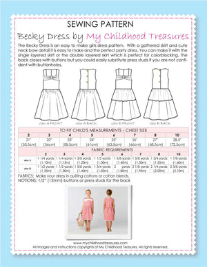 BECKY - Girls Dress Patterns - 2 Skirt Options