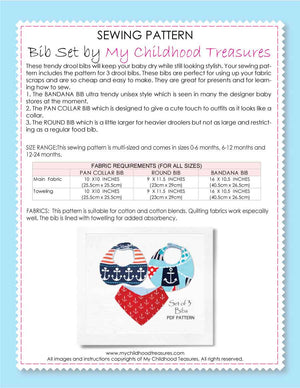 (BIB1) - Baby Bib Pattern & Bandana Bib Pattern, Set of 3