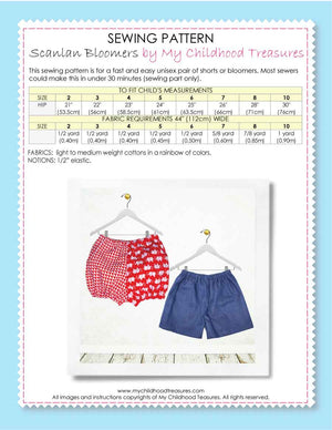 Bloomers Pattern & Shorts Pattern - Baby or Kids Sizes