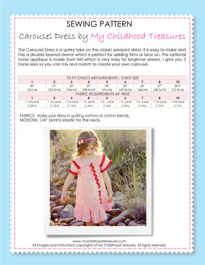 girls sewing pattern, carousel dress pattern