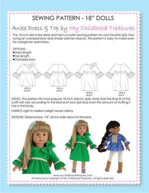 18 inch doll clothes patterns - ANKE DRESS & TOP (D1301)