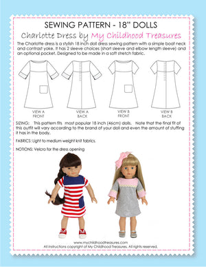 18 inch doll clothes patterns - CHARLOTTE Dress (D1305)