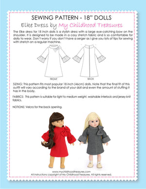 18 inch doll clothes patterns - ELKE Dress (D1307)
