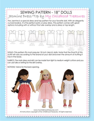 18 inch doll clothes patterns - JASMINE Dress (D1309)