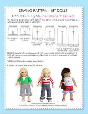 18 inch doll clothes patterns - KACI PANTS (D1311)