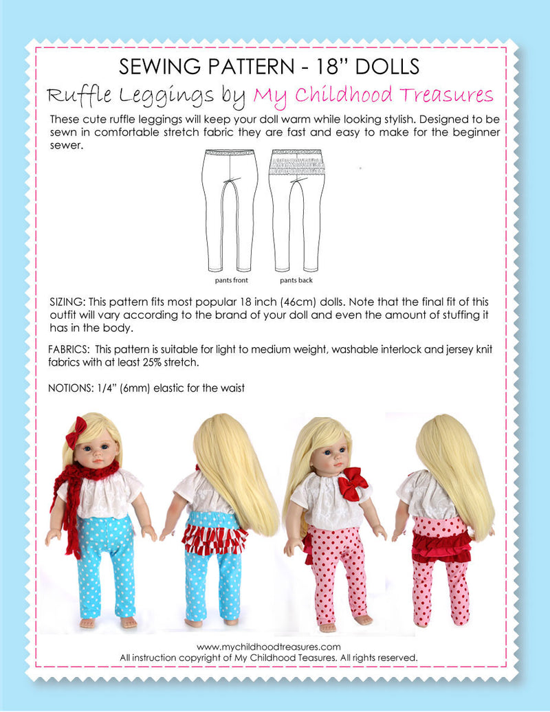 18 inch doll clothes patterns - LEGGINGS (D1312)