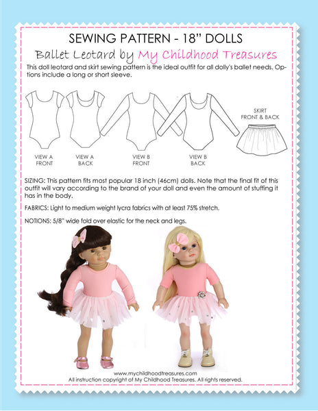 18 inch doll clothes patterns - Ballet LEOTARD set (D1303)