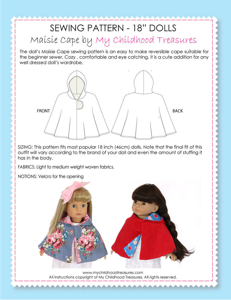 doll cape pattern, 18 inch doll pattern