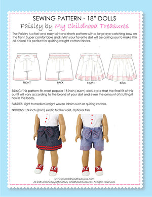 18 inch doll clothes patterns - PAISLEY (D1313)