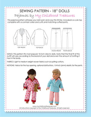18 inch doll clothes patterns - PAJAMAS (D1314)