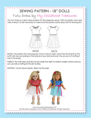 18 inch doll clothes patterns - TUTU Dress (D1319)