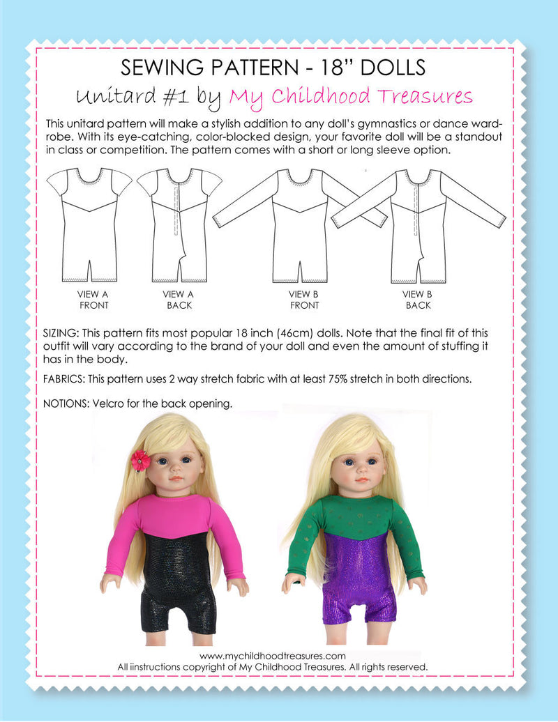 18 inch doll clothes patterns - gymnastics leotard (D1310)