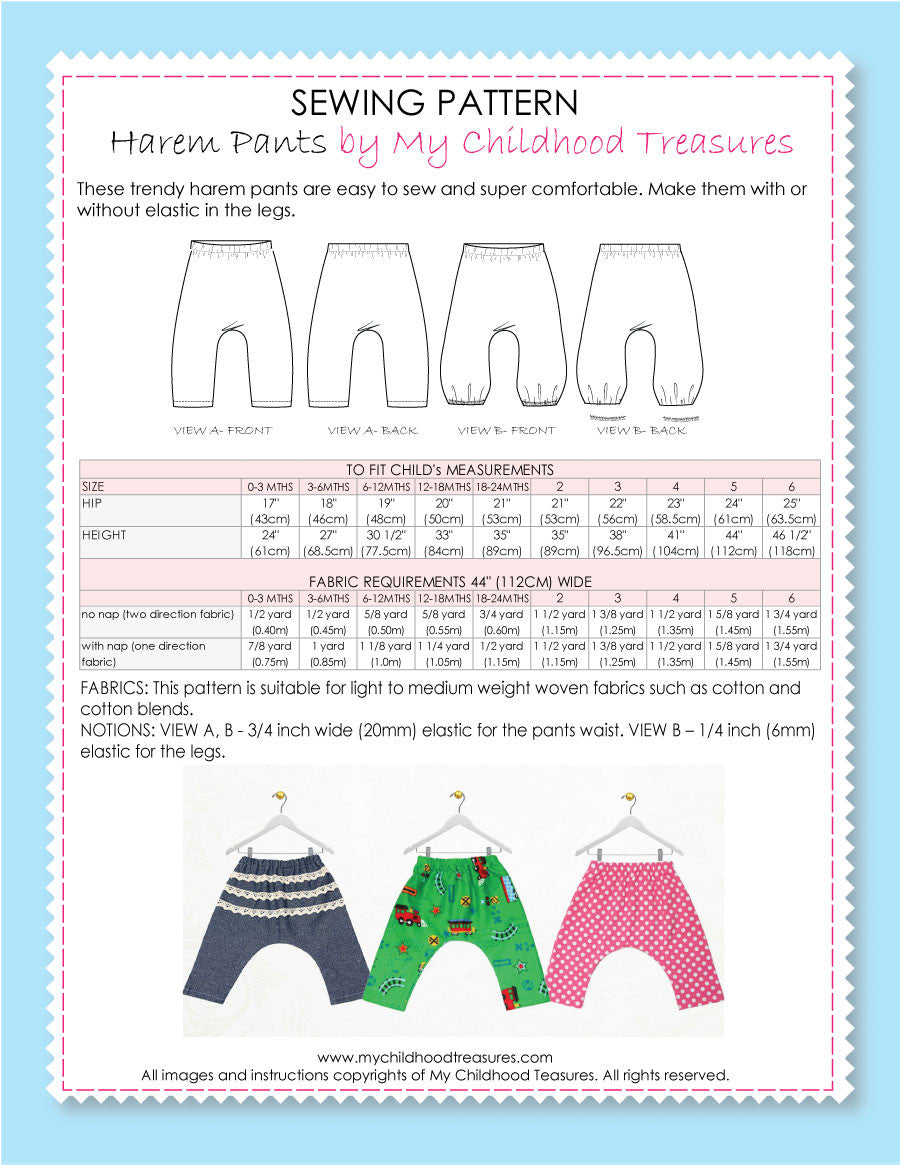 Avery Harem Pants Sewing Pattern – TREASURIE - My Childhood Treasures