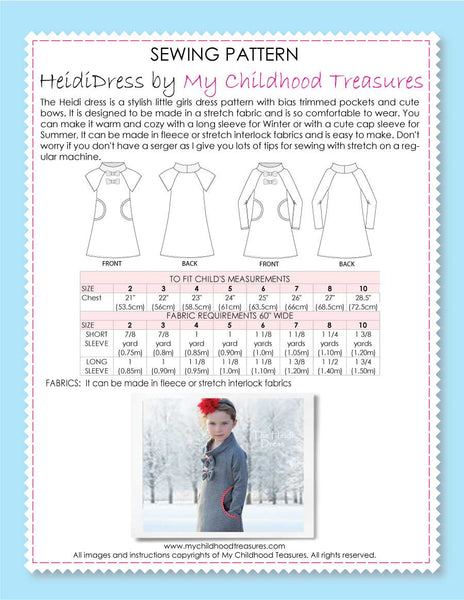 girls stretch dress pattern Heidi by MCT