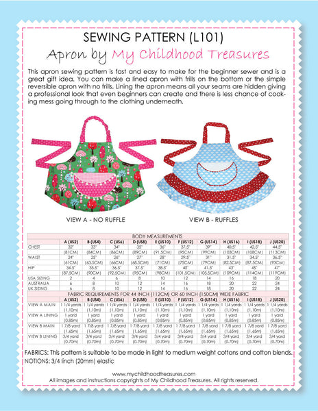 APRON Sewing Pattern - Adult, Womens, Mens