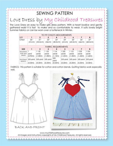 girls dress sewing pattern by MCT