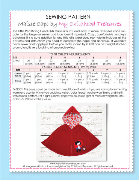 PEACOCK CAPE - Girls Cape Costume Sewing Pattern with Peacock Applique