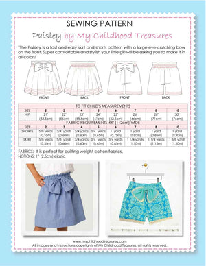 PAISLEY - Girls Shorts Sewing Pattern, Girls Skirt Sewing Pattern