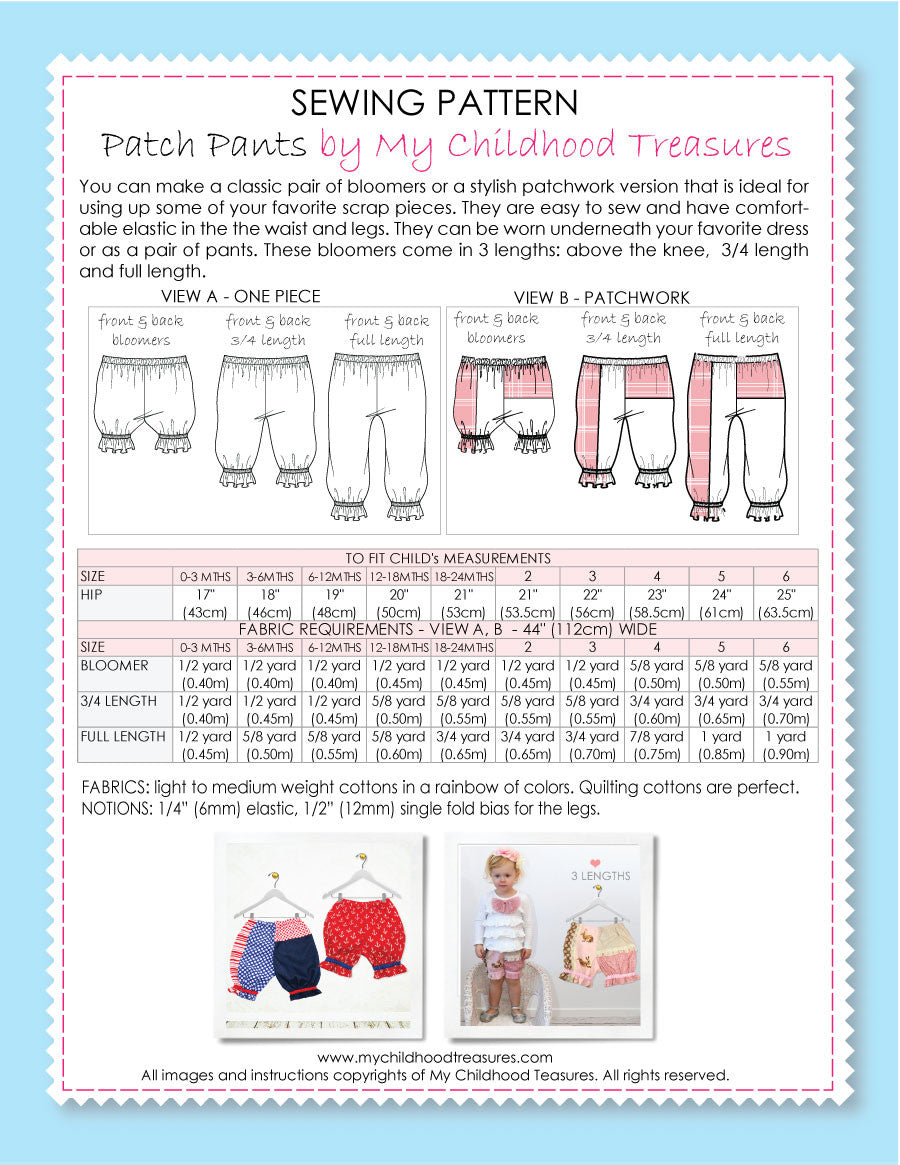Baby & Toddler Bloomers Sewing Pattern – TREASURIE - My Childhood ...