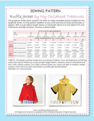 ruffle jacket sewing pattern by MCT