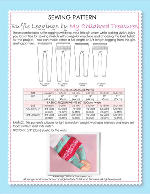 Leggings - BABY Pattern - RUFFLED