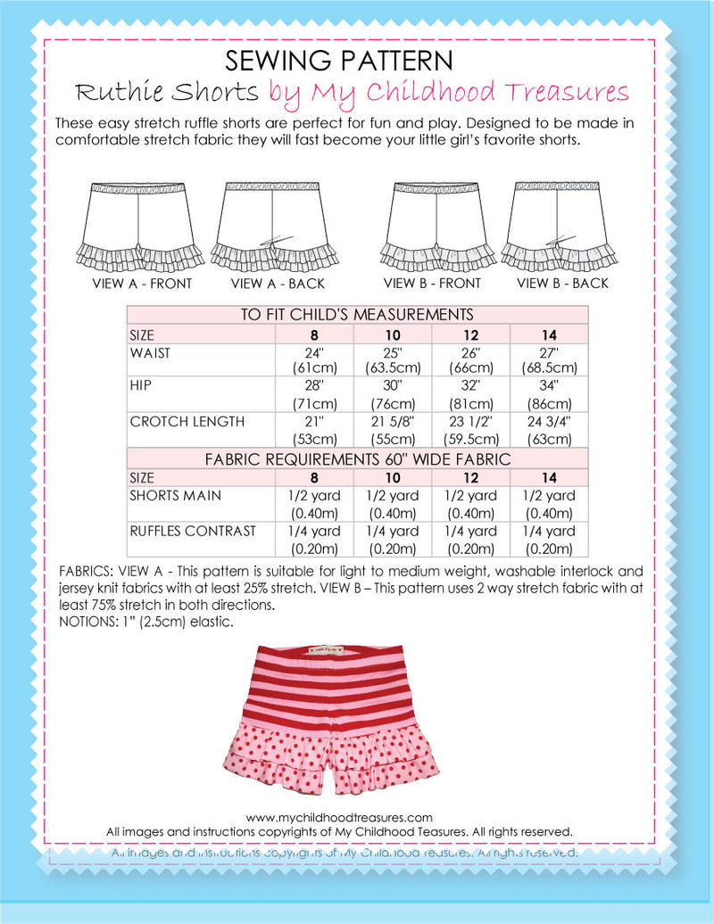 Ruthie stretch shorts pattern by MCT