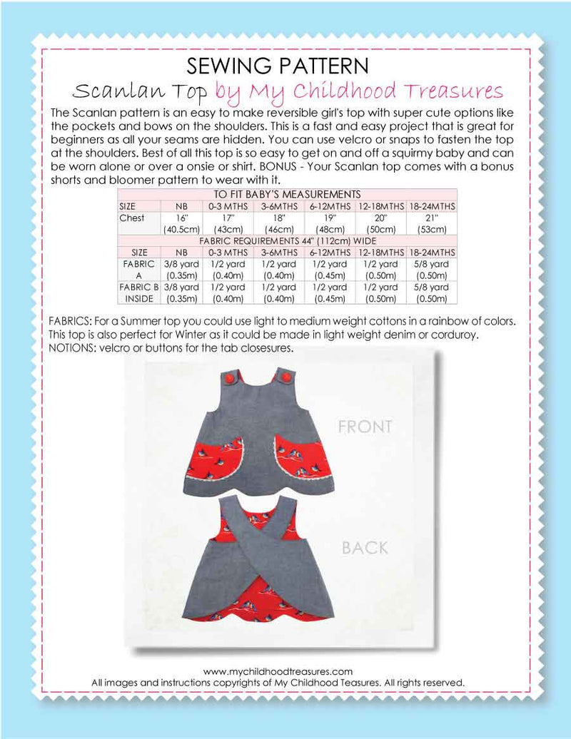 SCANLAN - BABY Top & Bloomers Pattern