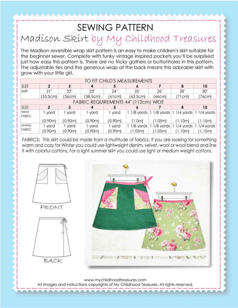Madison Wrap skirt sewing pattern by MCT