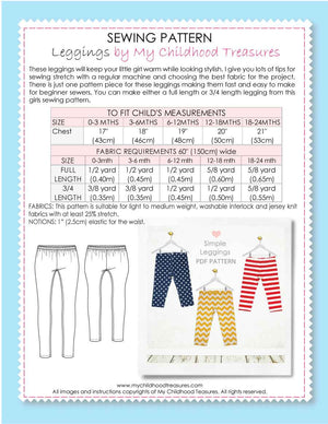 Leggings - BABY Pattern - SIMPLE