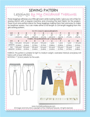 kids leggings pattern